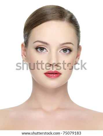 Close-up portrait of beautiful young sexy woman with bright red lipstick on her lips - isolated on white - stock photo