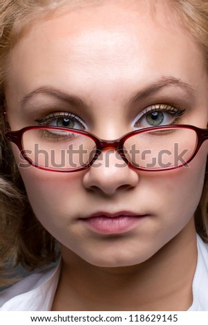 close up portrait of beautiful young woman - stock photo