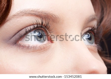 close-up portrait of beautiful young woman eye zone make-up