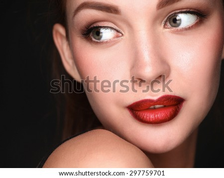 Close up portrait of beautiful young woman face - stock photo