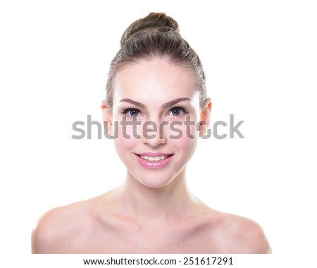 Close up portrait of beautiful young woman face. Isolated on white background. Skin care or spa concept - stock photo