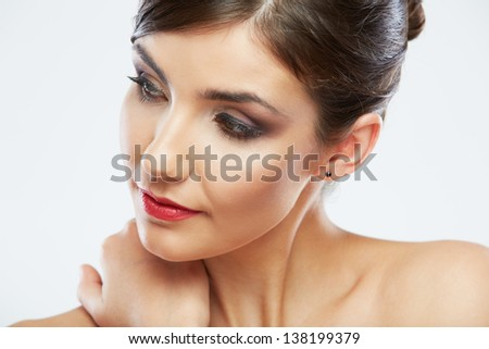 Close up portrait of beautiful young woman isolated on white background. Beautiful female model poses.
