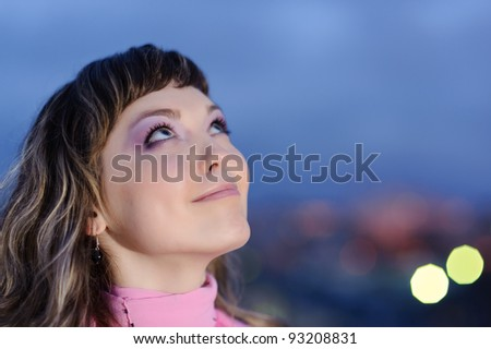 close up portrait of beauty smiling positive woman - stock photo