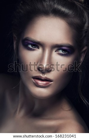close-up portrait of blond woman - stock photo