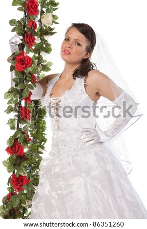 close-up portrait of bride with flowers, isolated on white