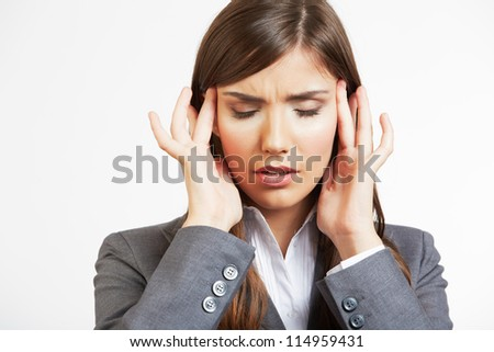 Close up Portrait of business woman with headache - stock photo