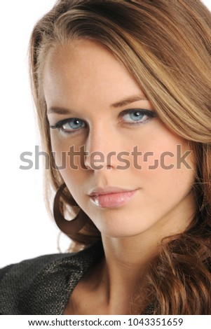 Close up portrait of businesswoman isolated on a white background