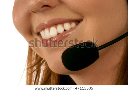 Close up portrait of call center operator - stock photo