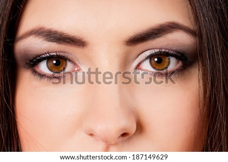 Close-up portrait of caucasian girl with beautiful eyes - stock photo