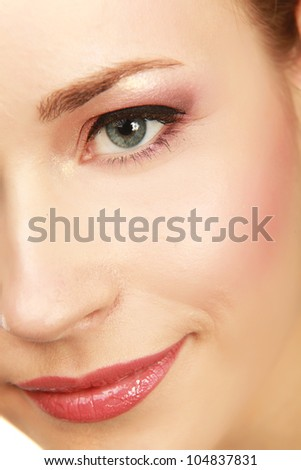 Close-up portrait of caucasian young woman isolated on white background - stock photo