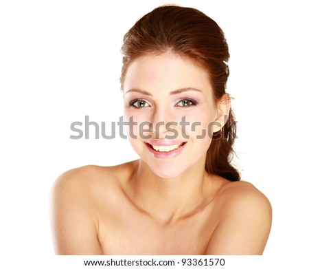 Close-up portrait of caucasian young woman isolated on white background