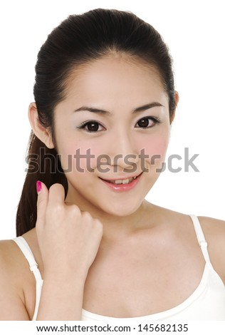 Close-up portrait of cheerful young adult girl
