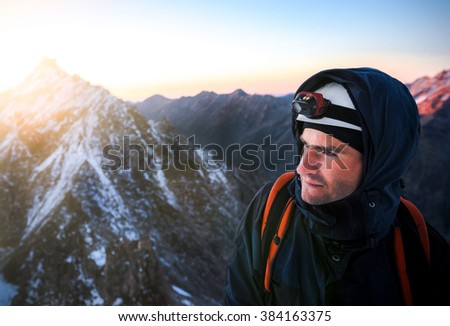Close up portrait of climber. Extreme sport concept - stock photo