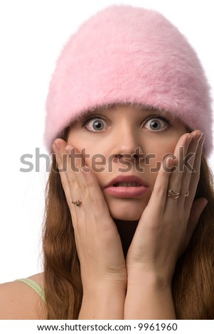 Close-up portrait of confused woman, isolated on white