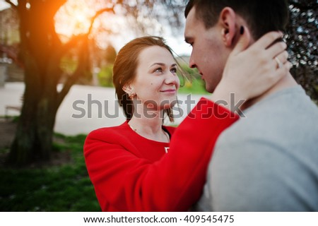 Close up portrait of couple in love. Girl looking at eyes of her boyfriend - stock photo