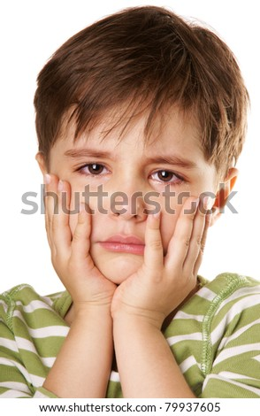 Close-up portrait of crying unhappy little boy, isolated on white background - stock photo