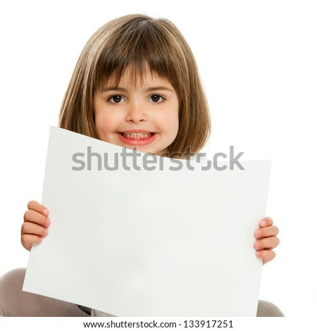 Close up portrait of cute girl holding blank paper.Isolated. - stock photo