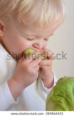 Close up portrait of cute little boy eating cucumber - stock photo