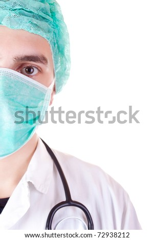 close-up, portrait of doctor in mask over white background
