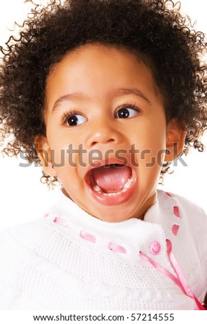 Close-up portrait of expressive little girl - stock photo