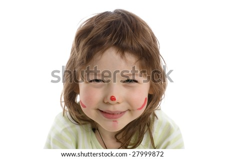 Close-up portrait of Fanny little girl with painted face, isolated on white - stock photo