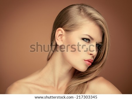 Close-up portrait of fashion gorgeous blonde with perfect hairstyle.  - stock photo