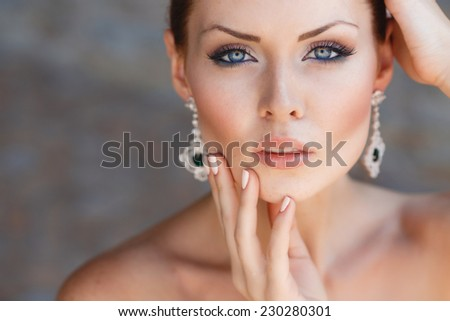 Close-up Portrait Of Fashion Young Smiling Beautiful Woman - stock photo