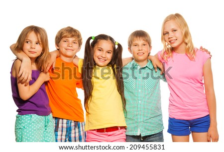 Close-up portrait of five kids standing together