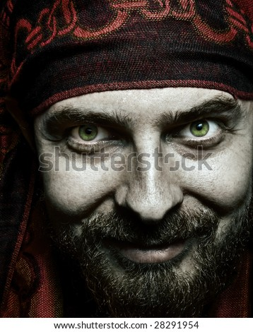 Close up portrait of funny bizarre spooky man - stock photo