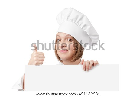 close up portrait of funny female chef, cook or baker showing thumb up and peeking over edge of banner with empty copy space for you text isolated on white background. advertisement blank board - stock photo