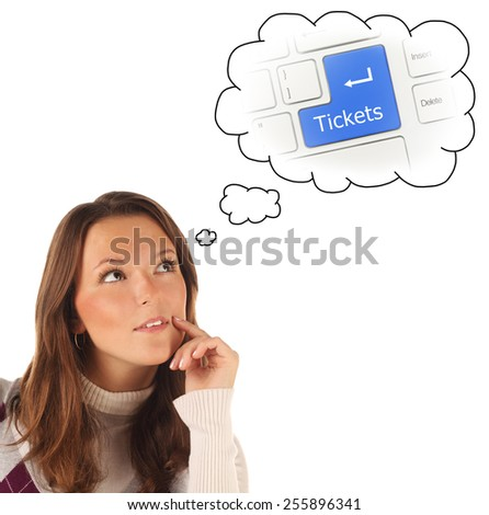 Close-up portrait of girl dreaming about on-line tickets order service isolated on white background