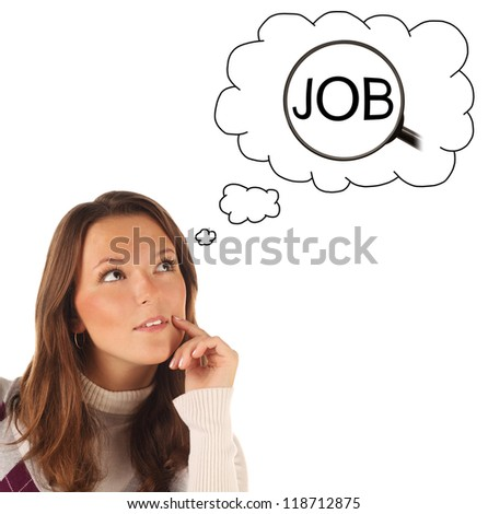 Close-up portrait of girl dreaming about searching of job isolated on white background