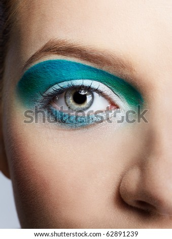 close-up portrait of girl's eye-zone make up - stock photo