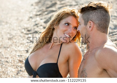 Close up portrait of handsome romantic couple with in love face expression.