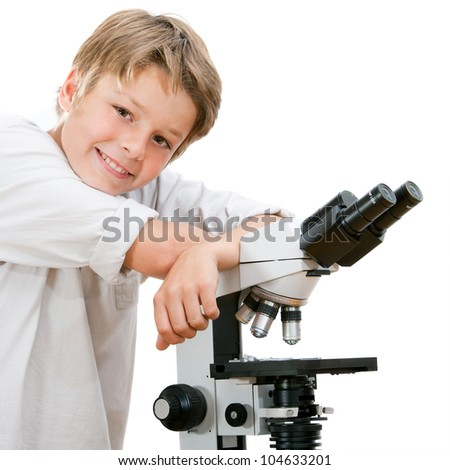 Close up portrait of handsome young student with microscope.Isolated on white. - stock photo