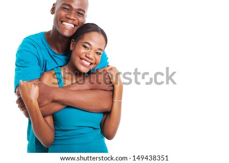 close up portrait of happy african couple on white background - stock photo