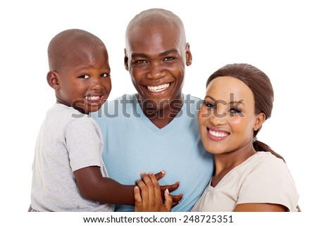 close up portrait of happy afro american family