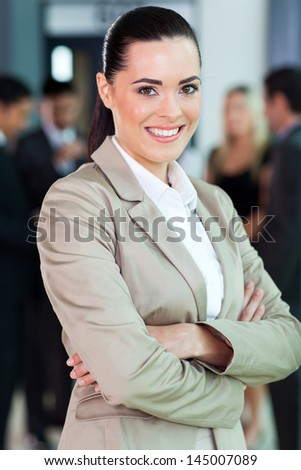 close up portrait of happy caucasian businesswoman - stock photo