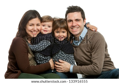 Close up portrait of happy family with heads together.Isolated on white. - stock photo