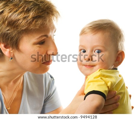 Close-up portrait of happy mother with beautiful baby isolated on white background