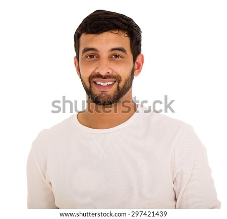 close up portrait of happy young indian man - stock photo
