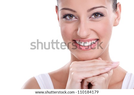Close-up portrait of healthy and fresh and beautiful young woman - stock photo