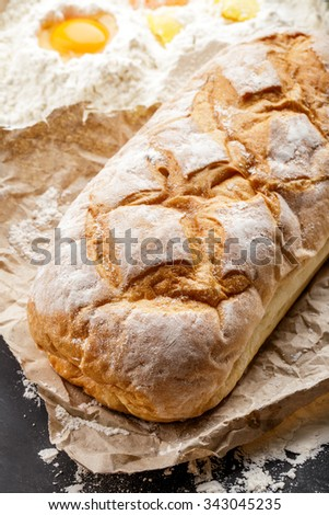 close up portrait of homemade gluten free rustic bread - stock photo