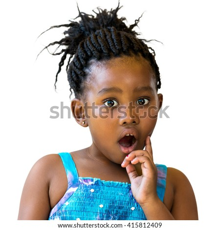 Close up portrait of little african girl with surprising face expression.Kid with open mount and one hand on cheek isolated on white background. - stock photo