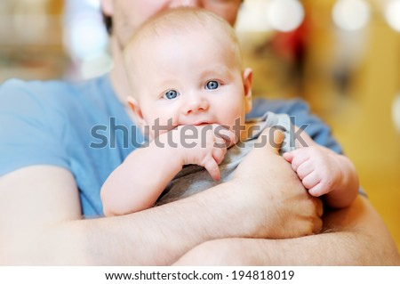Close up portrait of little baby boy - stock photo