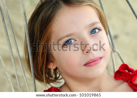 Close up portrait of little girl - stock photo