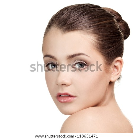 Close-up portrait of lovely caucasian young woman - stock photo
