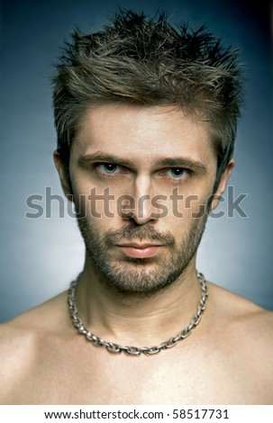 Close up portrait of man - stock photo