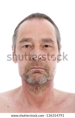 Close up portrait of middle aged man isolated on white - stock photo