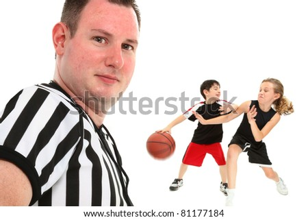 Close up portrait of official children's school basketball referee.